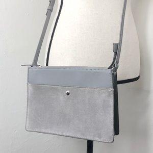 Talbots Gray Suede Crossbody Handbag Purse